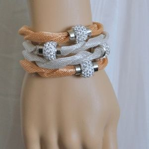 Jewelry - FOUR Stackable Mesh Bracelets with Pave Beads